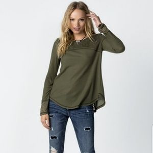 Miss Me Olive Green Lace Inset Waffle Knit Top